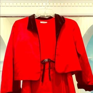 Us Angels red formal-satin dress & jacket